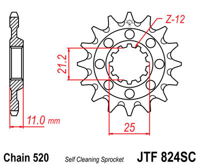 JTF824SC Front Drive Motorcycle Sprocket Self Cleaning 13 Teeth (JTF 824SC.13)