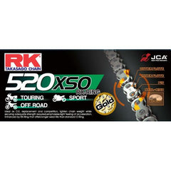 RK Gold HD RX-Ring Motorcycle Bike Chain 520 XSO 76 Links with Rivet Link