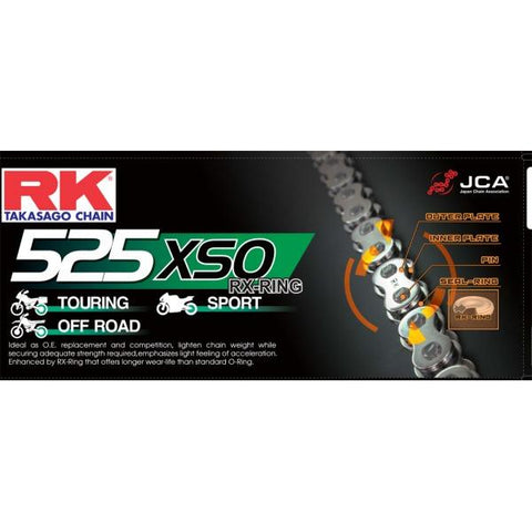 RK Gold HD RX-Ring Motorcycle Bike Chain 525 XSO 108 Links with Rivet Link