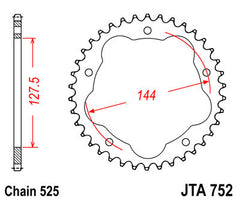 JTA752 Rear Drive Motorcycle Sprocket 36 Teeth