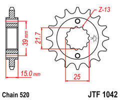 Front Motorcycle Sprocket for Kymco_250 KXR / KXU_02-05, Kymco_300 Maxxer_05-08