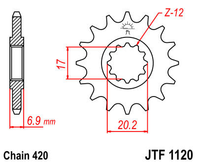 JTF1120 Front Drive Motorcycle Sprocket 12 Teeth (JTF 1120.12)
