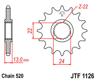 JTF1126 Front Drive Motorcycle Sprocket 16 Teeth (JTF 1126.16)