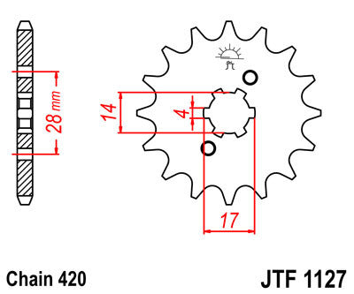 JTF1127 Front Drive Motorcycle Sprocket 12 Teeth (JTF 1127.12)