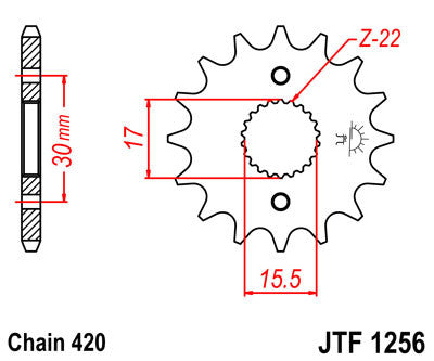 JTF1256 Front Drive Motorcycle Sprocket 14 Teeth (JTF 1256.14)