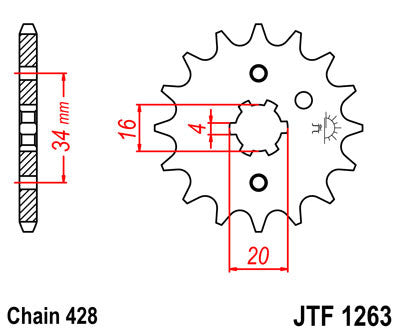 JTF1263 Front Drive Motorcycle Sprocket 15 Teeth (JTF 1263.15)