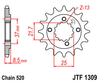 JTF1309 Front Drive Motorcycle Sprocket 15 Teeth (JTF 1309.15)