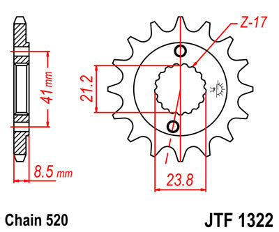 JTF1322 Front Drive Motorcycle Sprocket 14 Teeth (JTF 1322.14)