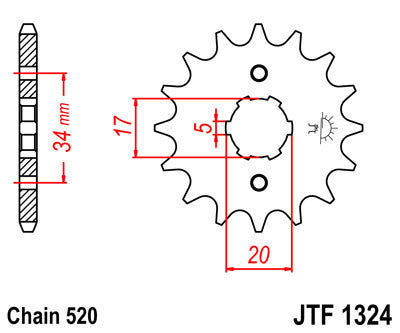 JTF1324 Front Drive Motorcycle Sprocket 12 Teeth (JTF 1324.12)