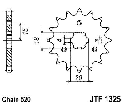 JTF1325 Front Drive Motorcycle Sprocket 11 Teeth (JTF 1325.11)