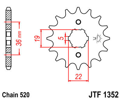 JTF1352 Front Drive Motorcycle Sprocket 13 Teeth (JTF 1352.13)
