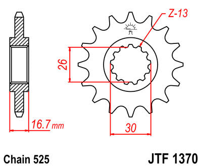 JTF1370 Front Drive Motorcycle Sprocket 16 Teeth (JTF 1370.16)