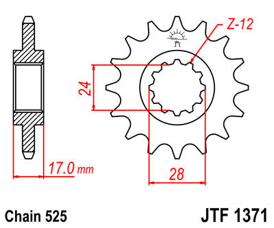 JTF1371 Front Drive Motorcycle Sprocket 15 Teeth (JTF 1371.15)