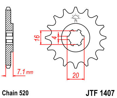 JTF1407 Front Drive Motorcycle Sprocket 10 Teeth (JTF 1407.10)