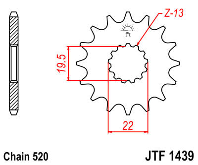 JTF1439 Front Drive Motorcycle Sprocket 12 Teeth (JTF 1439.12)