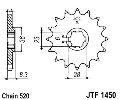 JTF1450 Front Drive Motorcycle Sprocket 13 Teeth (JTF 1450.13)