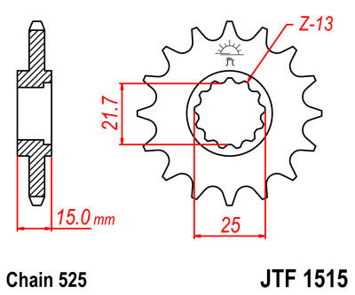 JTF1515 Front Drive Motorcycle Sprocket 15 Teeth (JTF 1515.15)