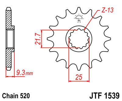 JTF1539 Front Drive Motorcycle Sprocket 14 Teeth (JTF 1539.14)