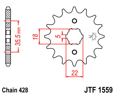 JTF1559 Front Drive Motorcycle Sprocket 15 Teeth (JTF 1559.15)