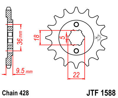 JTF1588 Front Drive Motorcycle Sprocket 19 Teeth (JTF 1588.19)
