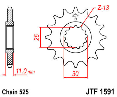 JTF1591 Front Drive Motorcycle Sprocket 16 Teeth (JTF 1591.16)