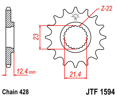 JTF1594 Front Drive Motorcycle Sprocket 15 Teeth (JTF 1594.15)