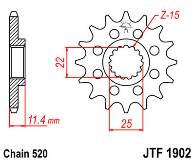 JTF1902 Front Drive Motorcycle Sprocket 16 Teeth (JTF 1902.16)