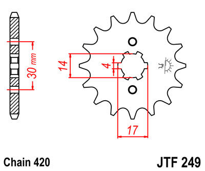 JTF249 Front Drive Motorcycle Sprocket 13 Teeth (JTF 249.13)