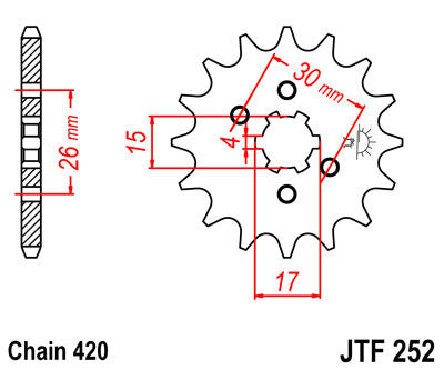 JTF252 Front Drive Motorcycle Sprocket 13 Teeth (JTF 252.13)