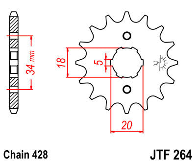 JTF264 Front Drive Motorcycle Sprocket 17 Teeth (JTF 264.17)