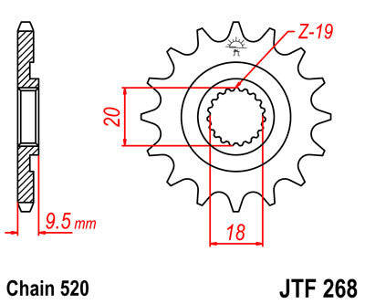JTF268 Front Drive Motorcycle Sprocket 13 Teeth (JTF 268.13)