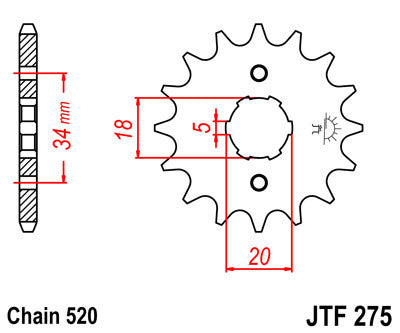 JTF275 Front Drive Motorcycle Sprocket 15 Teeth (JTF 275.15)