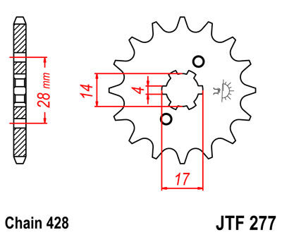 JTF277 Front Drive Motorcycle Sprocket 13 Teeth (JTF 277.13)