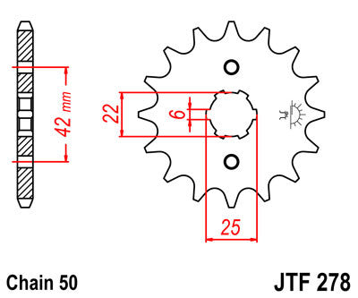 JTF278 Front Drive Motorcycle Sprocket 17 Teeth (JTF 278.17)