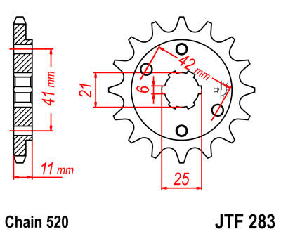 JTF283 Front Drive Motorcycle Sprocket 15 Teeth (JTF 283.15)
