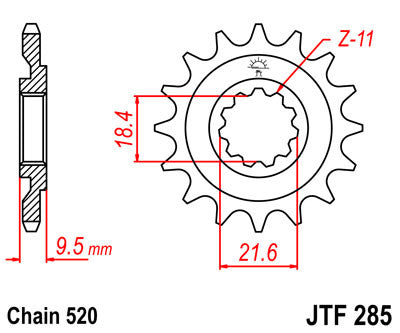 JTF285 Front Drive Motorcycle Sprocket 14 Teeth (JTF 285.14)