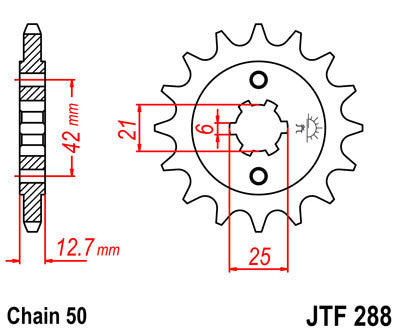 JTF288 Front Drive Motorcycle Sprocket 17 Teeth (JTF 288.17)
