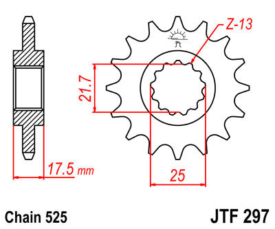 JTF297 Front Drive Motorcycle Sprocket 15 Teeth (JTF 297.15)
