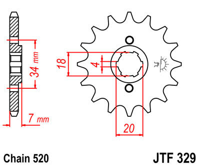 JTF329 Front Drive Motorcycle Sprocket 13 Teeth (JTF 329.13)