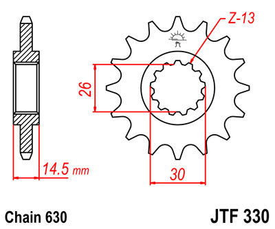 JTF330 Front Drive Motorcycle Sprocket 15 Teeth (JTF 330.15)
