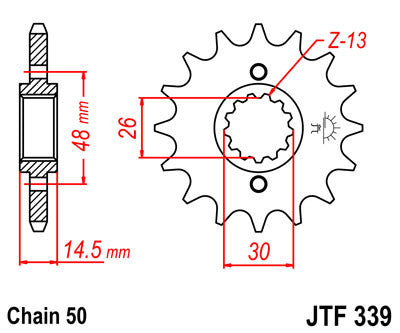 JTF339 Front Drive Motorcycle Sprocket 16 Teeth (JTF 339.16)