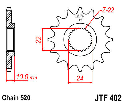JTF402 Front Drive Motorcycle Sprocket 16 Teeth (JTF 402.16)