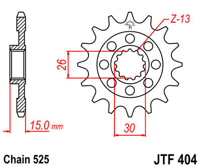 JTF404 Front Drive Motorcycle Sprocket 17 Teeth (JTF 404.17)