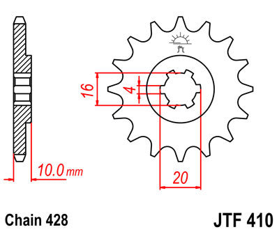 JTF410 Front Drive Motorcycle Sprocket 14 Teeth (JTF 410.14)