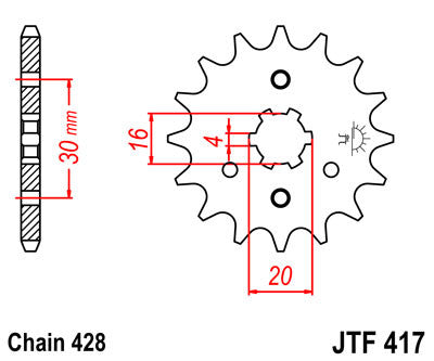 JTF417 Front Drive Motorcycle Sprocket 16 Teeth (JTF 417.16)