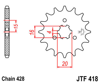 JTF418 Front Drive Motorcycle Sprocket 15 Teeth (JTF 418.15)