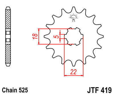 JTF419 Front Drive Motorcycle Sprocket 14 Teeth (JTF 419.14)