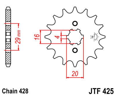 JTF425 Front Drive Motorcycle Sprocket 16 Teeth (JTF 425.16)