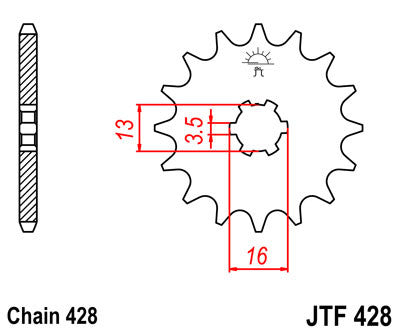 JTF428  Front Drive Motorcycle Sprocket 13 Teeth (JTF 428.13)
