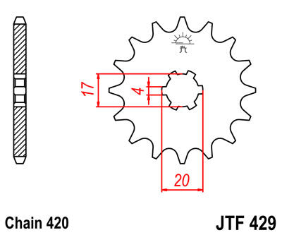 JTF429 Front Drive Motorcycle Sprocket 12 Teeth (JTF 429.12)